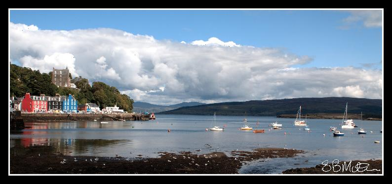 "Boat Moorings and the ""Balamory Houses"": Photograph by Steve Milner"